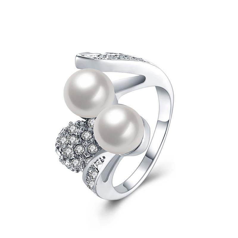 Simulated Pearl Rings Wedding Jewelry New Fashion Gold Plated Ring For Women R085