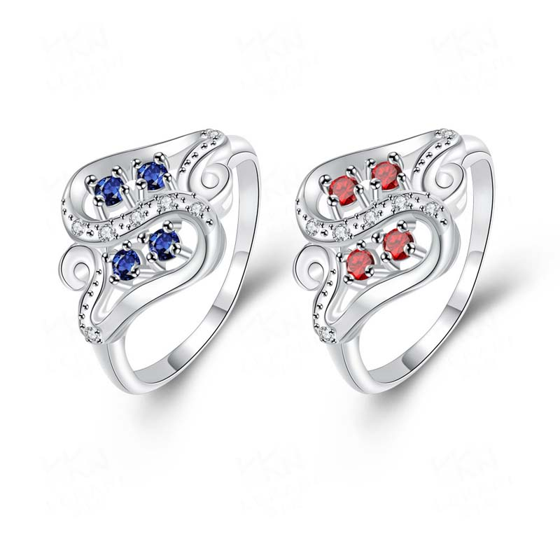 Letter S Ring Platinum Plated with Red Zircon Women's Cheap Rings SPR092