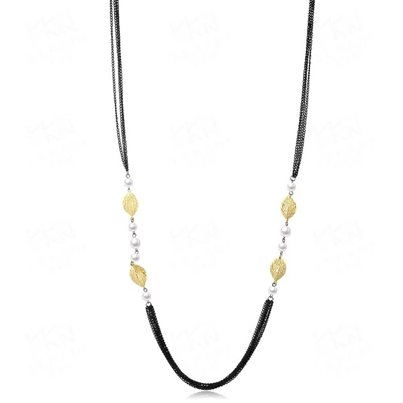 Multi Layer Woman Long Gold Plated Necklace FSN075