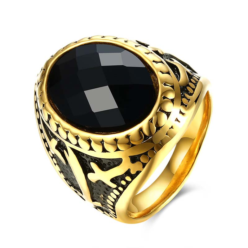 Noble Royal Gold Plated Stainless Steel Titanium Men's Ring Retro Crystal Style TGR119