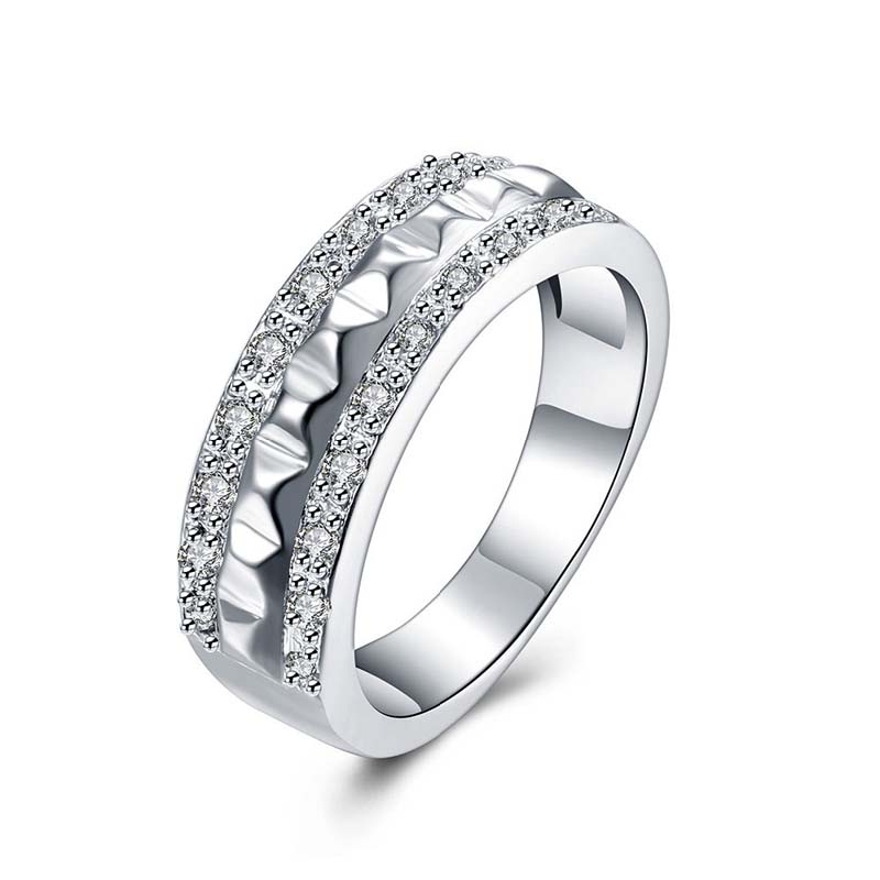 925 Sterling Silver Double Rows Full Cubic Zirconia CZ Diamond Rings For Women