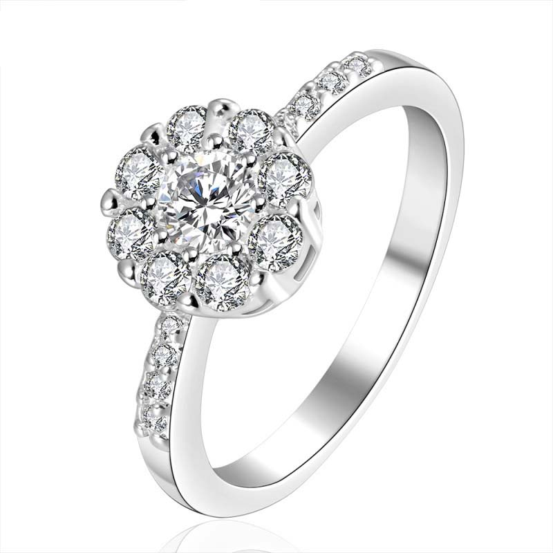 925 Jewelry Silver plated Jewelry Ring Fine Fashion Silver Plated Zircon