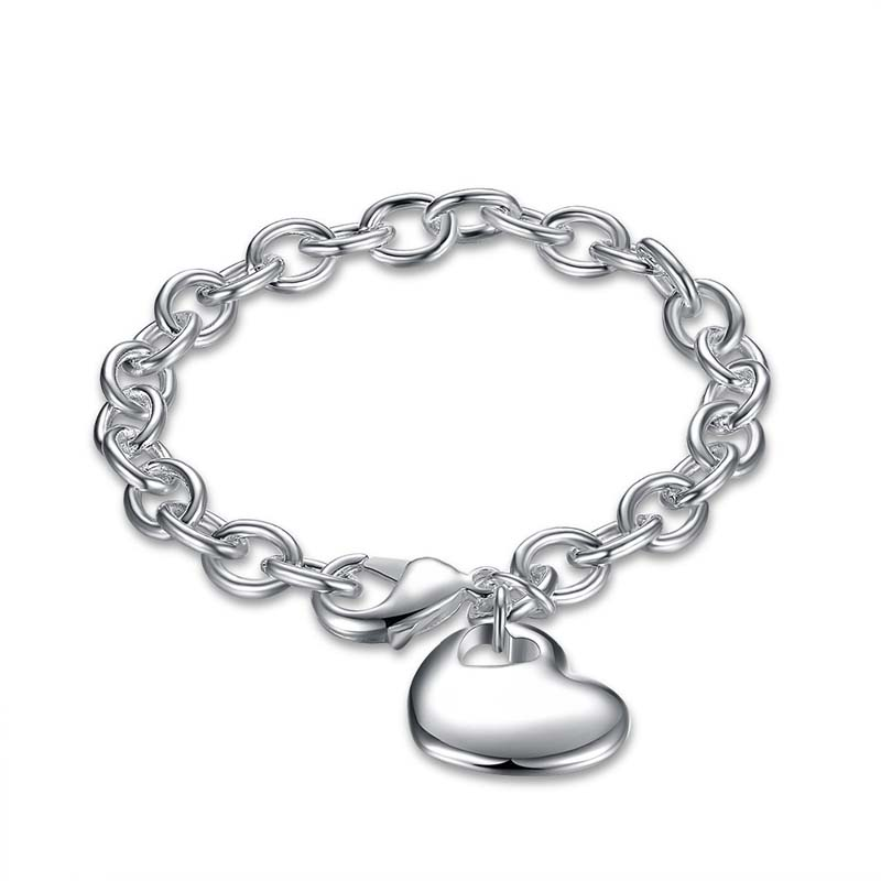 925 Sterling Silver Fashion Jewelry Heart Charm Bracelets&Bangle