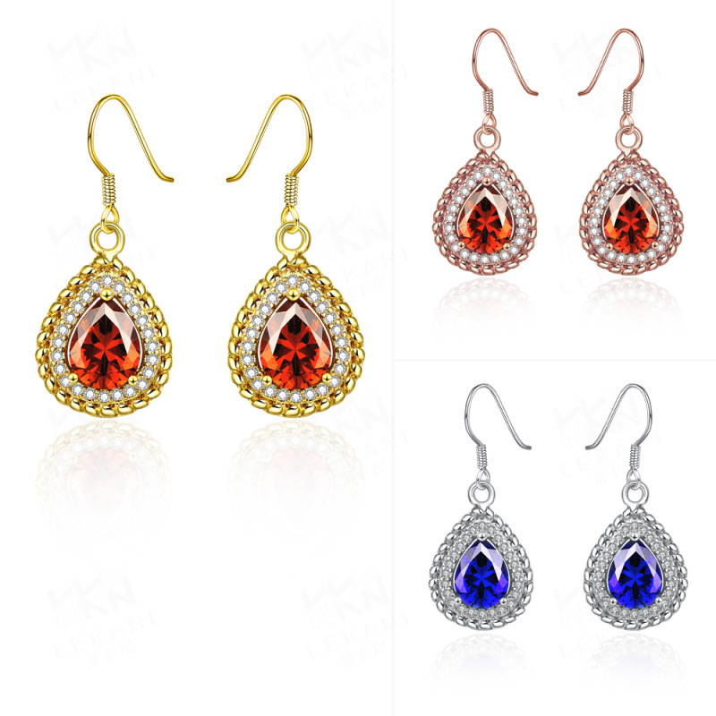 Austrian Crystal Water Drop Pendant Earrings Gold Plated Fine Jewelry KZCE056
