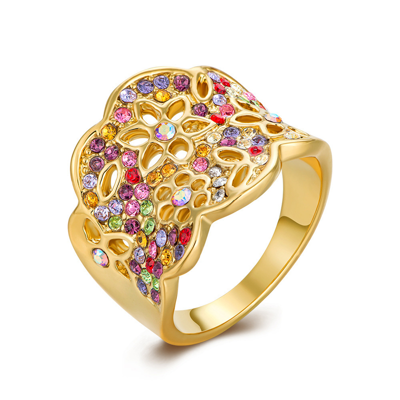 Gold plated Colourful Flower 925 Sterling Silver Ring for Women