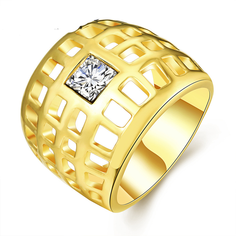 Gold Plated Hollow Inlay Rhinestone Rings Fashion Jewelry for Women