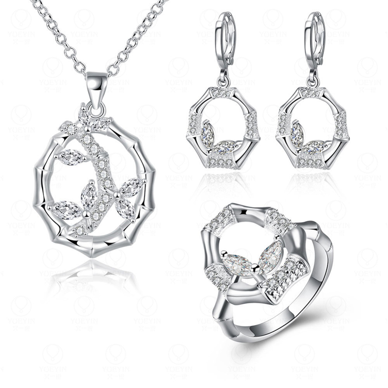 Silver Plated Bamboo Necklace Earrings Rings Jewelry Sets For Women AAA+ Cubic Zircon Diamond Bridal Jewelry Sets