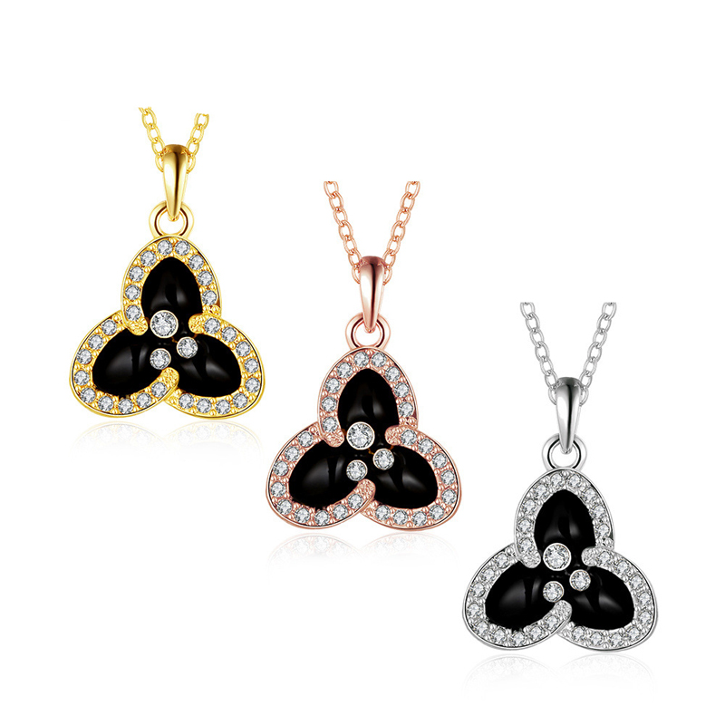 Gold plated Diamond Inlay Three Colour Pandent for Women