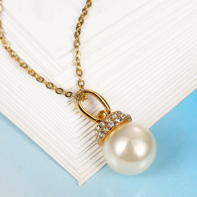 Gold Plated Imitation Pearl Ball Pendant Necklaces Jewelry for Women