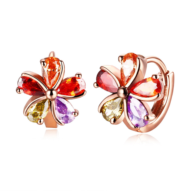 Gold Plated Colorful Flower Clip Earrings for Women Female Fashion Jewelry CZ Crystal Earrings