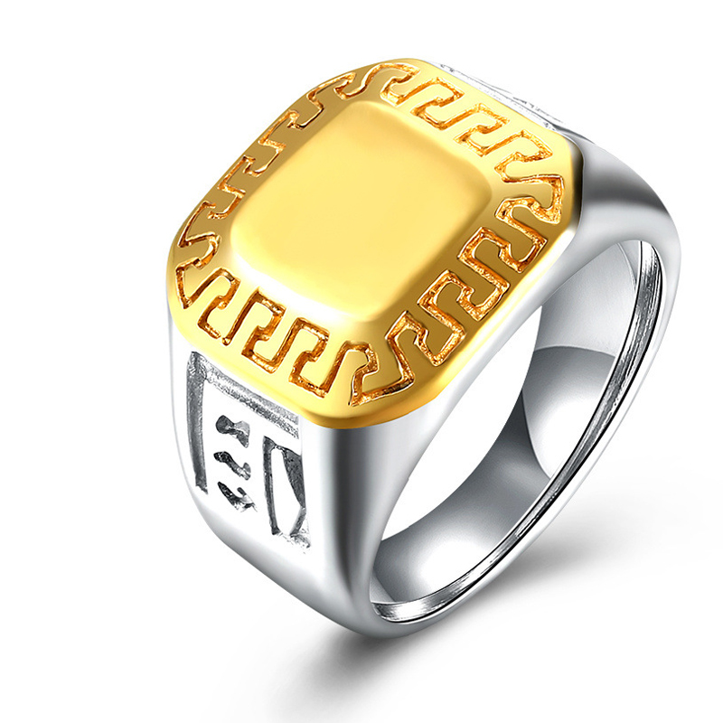 Gold Plated Luxury Square Ring For Men Stainless Steel Vintage Ring Male Jewelry TGR103