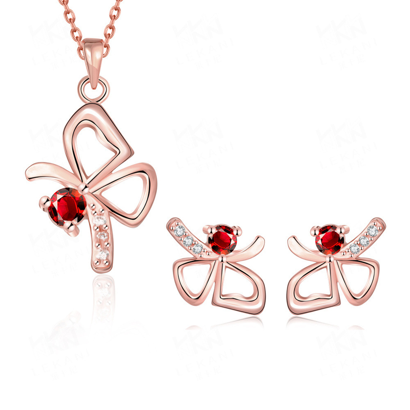 Women Jewelry Sets Lovely Bowknot Inlaid Cubic Zirconia and Red/Blue Crystal Gold Plated Pendant Necklace + Earrings
