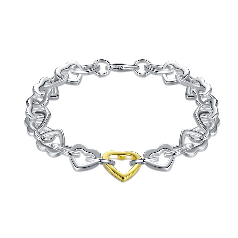 925 Sterling Silver Fashion Jewelry Sivery and Golden Heart Bracelet