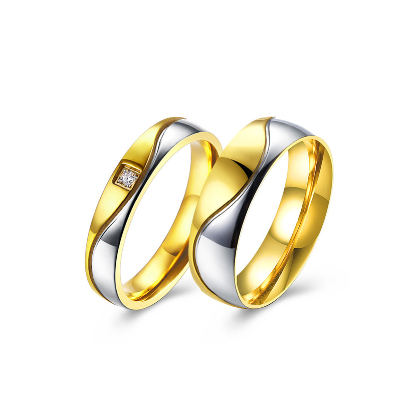 Gold Plated Silver Color Wave 4mm/6mm Band Stainless Steel Wedding Rings For Couples TGR133