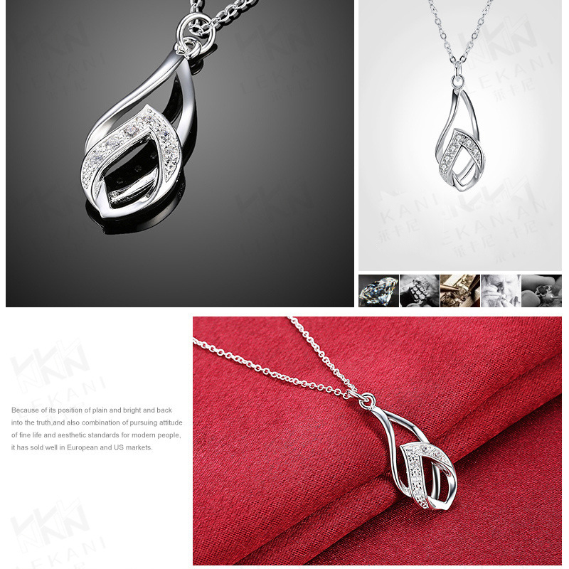 Beautiful Women Gold Plated Twisted Chains Necklace Water Drop Crystal Pendant