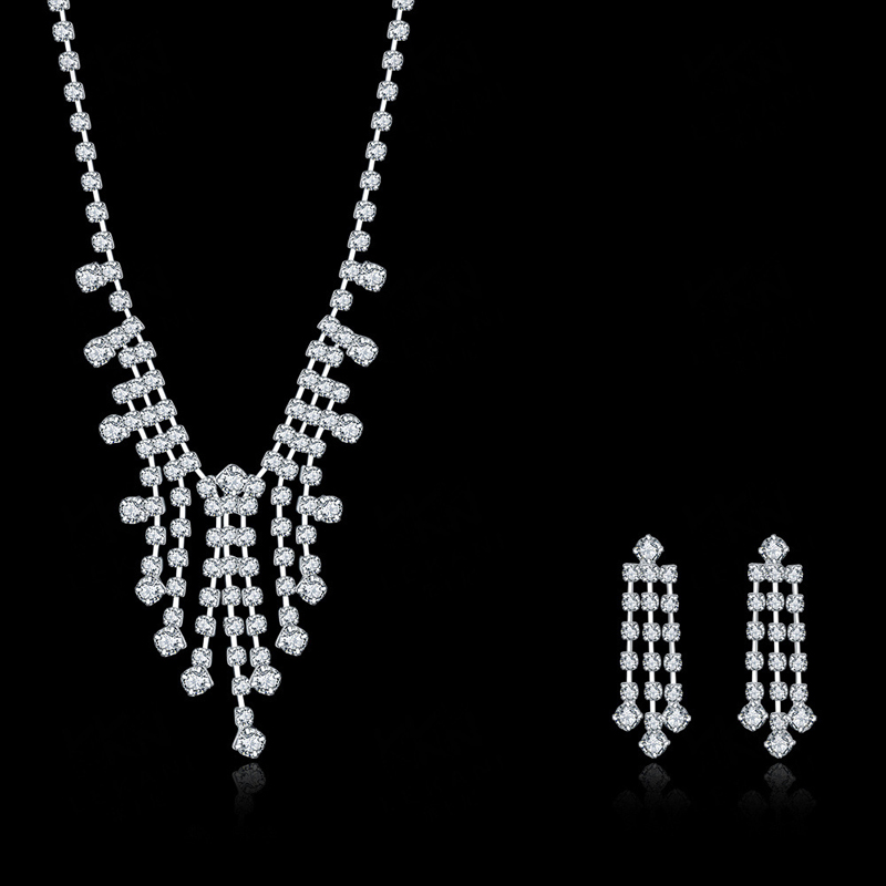 Women Evening Party Jewelry Set Micro Pave Setting Clear Crystal Stone Dangle Drop Necklace Earrings With Silver Plated