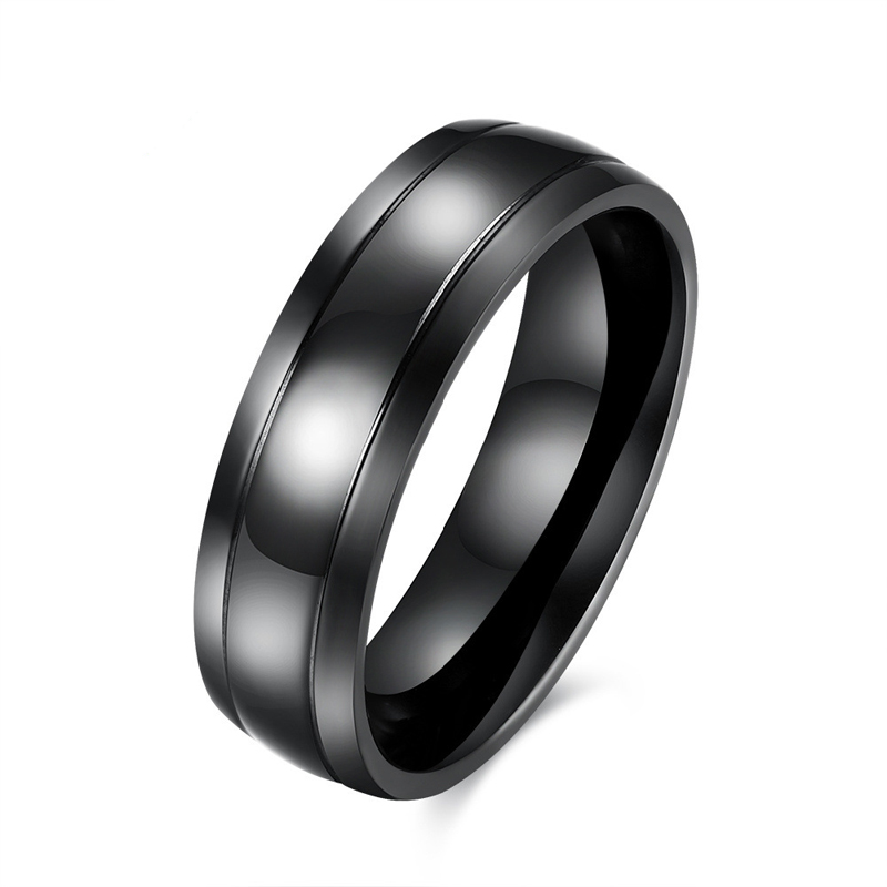 316L Titanium Steel black Ring For Men New Fashion Male Party Metal Jewelry TGR081