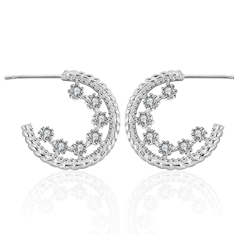 Gold Plated Clear Rhinestone Fashion Jewelry Wholesale Drop Earrings For Women E458