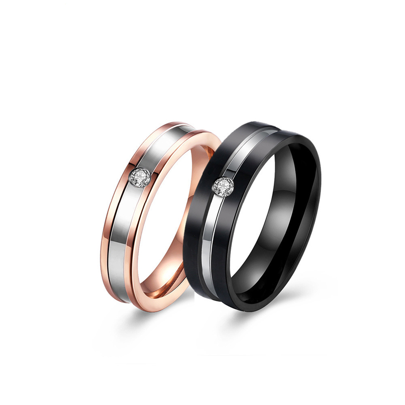 Gold and Black Polished Silver Zircon Band Stainless Steel Wedding Rings For Couples