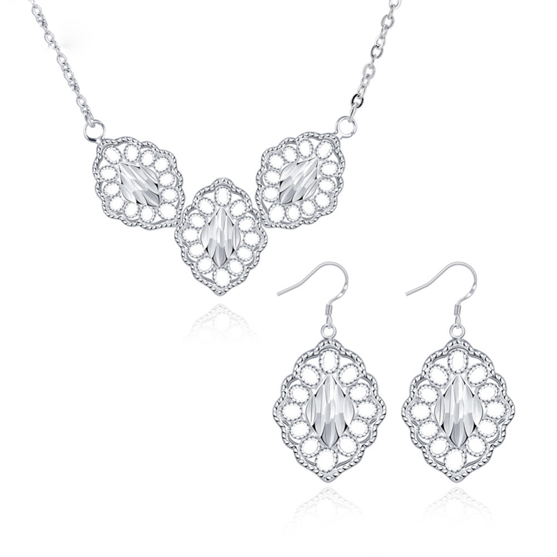 Hollow Out The Leaf Pendant Necklace + Earrings Fashion Silver Plated Bridal Party Jewelry Sets for Women