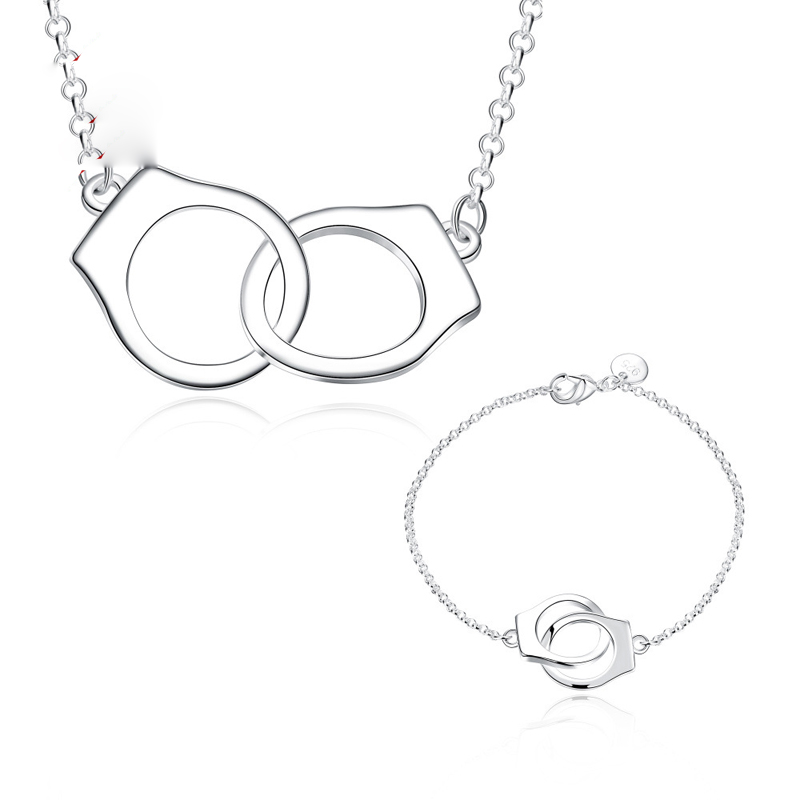 Silver Plated Jewelry Set For Women Personalized Handcuff Necklace + Bracelet BKS001