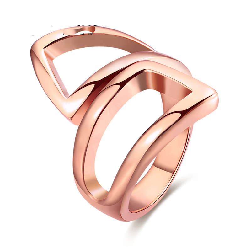 Gold Plated Statement Ring Women Party Fashion Geometric Ring Trendy Brand Jewelry