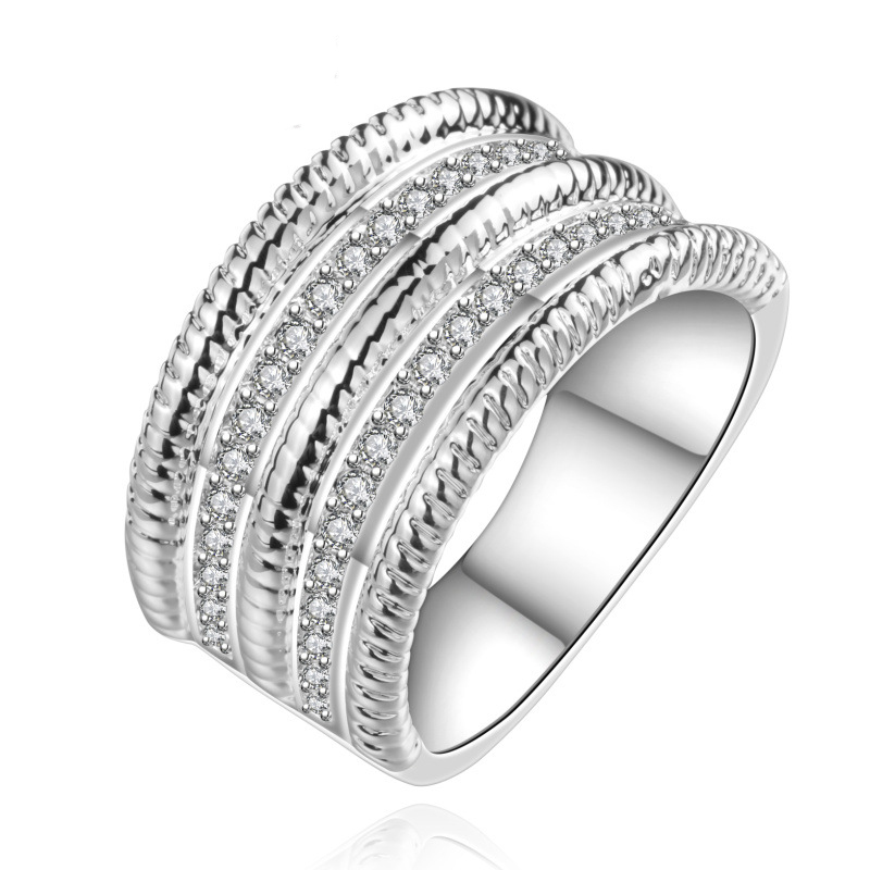Silver Plated Round Zircon Ring Wholesale Round Ring Casual Silver Plated & Zirconia Gift Women Dress Accessories