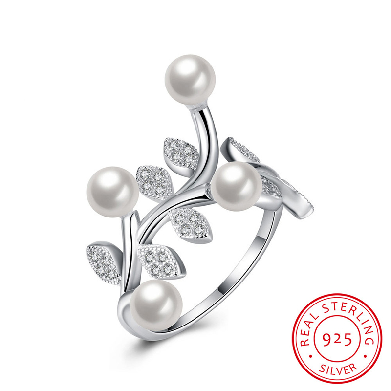925 Sterling Silver Jewelry Nature Pearl Fashion Rings For Women Open Ring SVR052