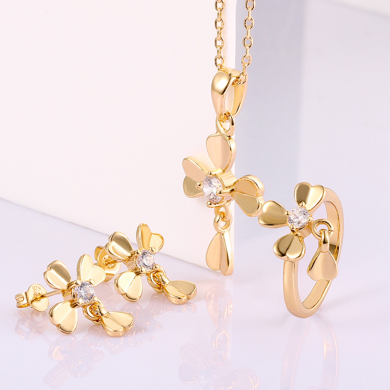 Delicate Gold plated Jewelry Set Earring+Pandent+Ring for Women