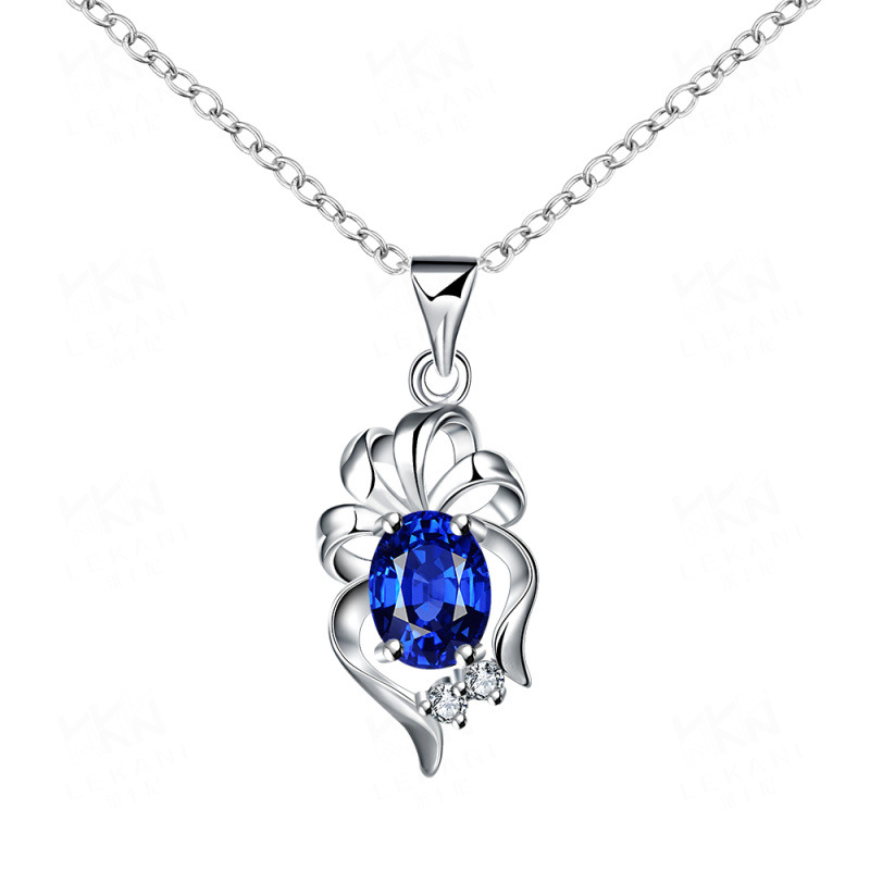 Silver Plated Geometric with Cubic Zirconia Blue/Golden/Red/White Crystal Pendant Necklace Jewelry for Women Gift SPN060