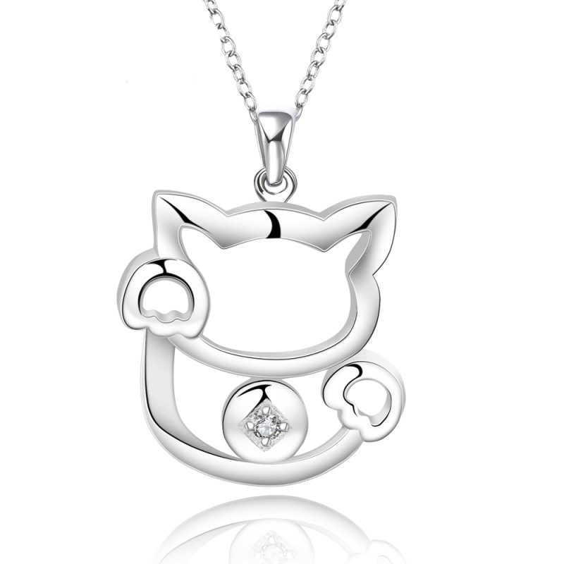 Pure Silver plated Jewelry Cute Fortune Cat Crystal Necklaces & Pendants For Women