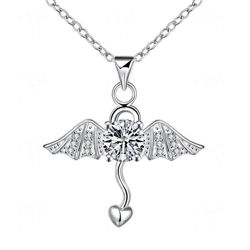 Umbrella Cross Irregular Shaped Silver-Plated with Cubic Zirconia Pendant Necklace Jewelry for Girls Women SPN072