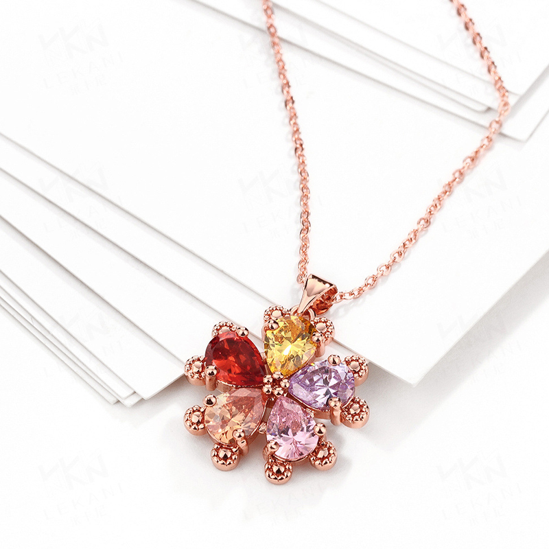 Gold Plated Colorful 5 Petals Flower Zirconia Crystal Quartz Pendant Necklace for Women