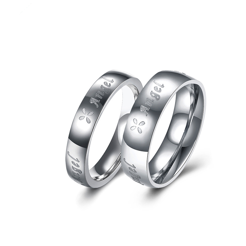 Stainless Steel Ring Letters Angel Couples Rings for Men Women Lovers Valentine's Gifts TGR165