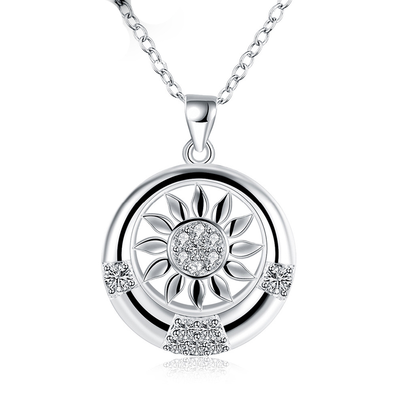 Sunshine Amazing Silver plated Zircon Crossing Birthday Party Jewelry Pendant Necklace