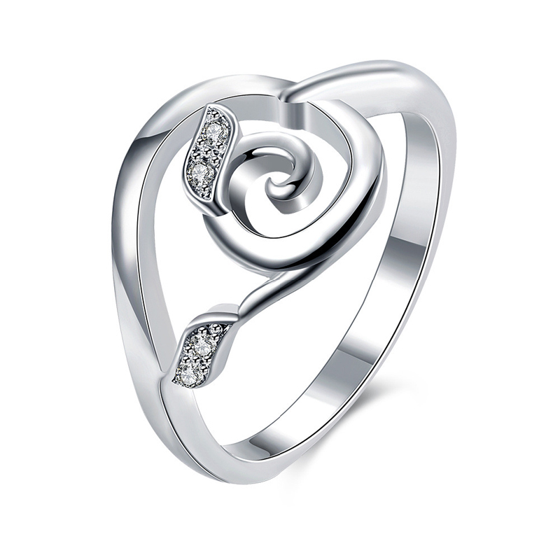 Sliver Plated Ring Rose Shape With Zircon Petal Women's Rings Ladies and Girls Finger Jewelry For Female Love