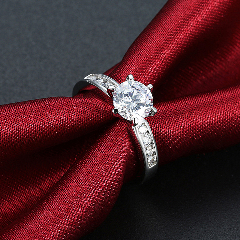 Zirconia Wedding Engagement Rings For Women white Gold Plated Fashion Jewelry