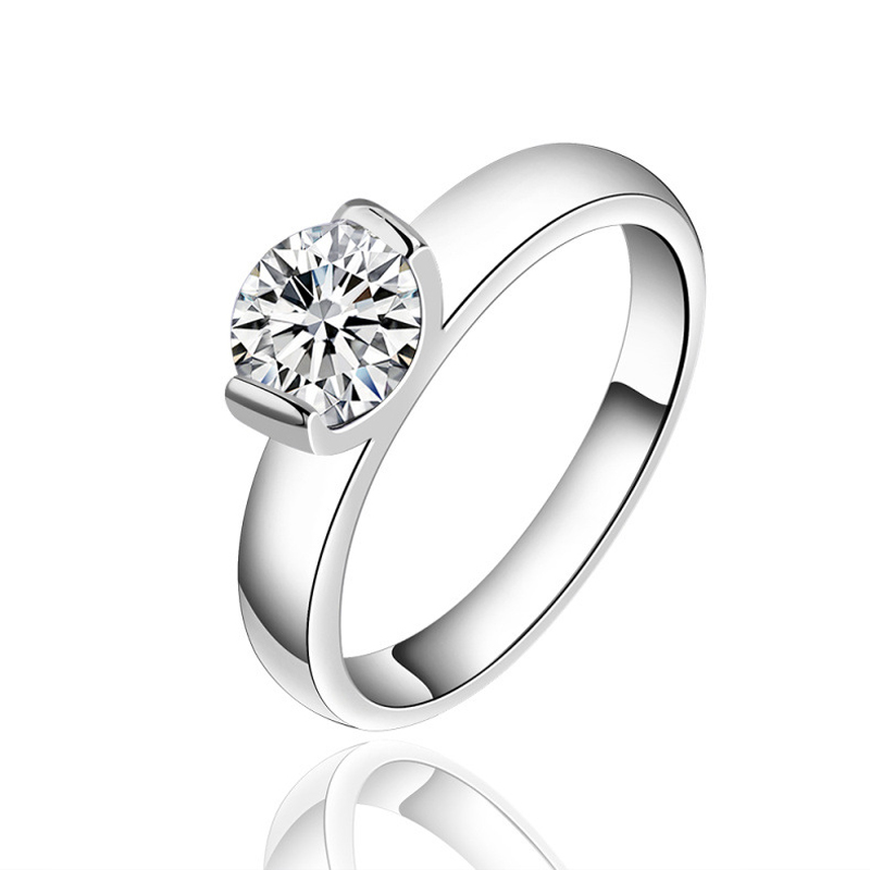 Silver Plated Wedding Rings For Women Simulated Diamond Jewelry Engagement Ring