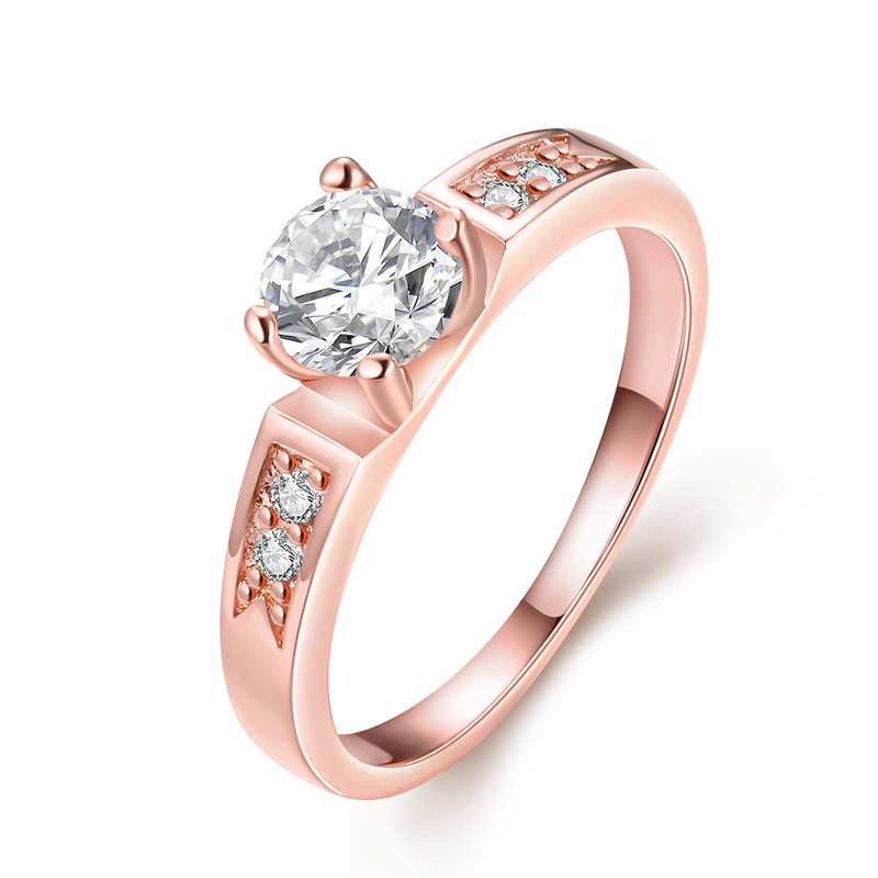 Shiny White Zircon Wedding Gold Plated Rings For Women Gold Ring R046