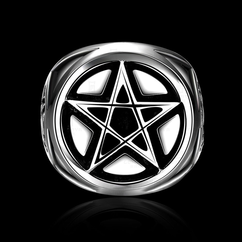 Vintage Men Stainless Steel Pentagram Ring Exaggerated Punk Style Personality Mens Gothic Rings R206