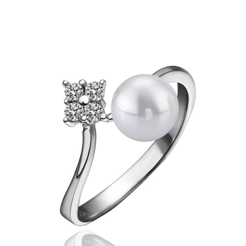 Simulated Pearl Ring For Women Fancy Cubic Zirconia Rings Fashion Wedding Bridal Jewelry LKNPLR009