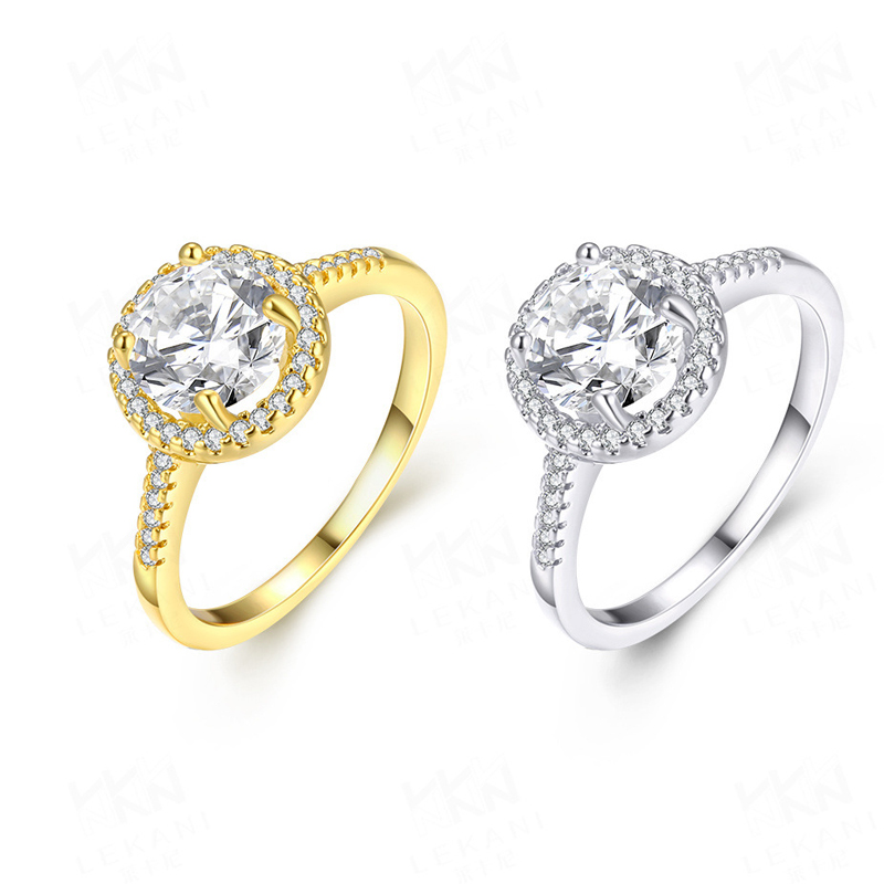 Popular Gold Plated Women's Ring Large Zircon Classic Style
