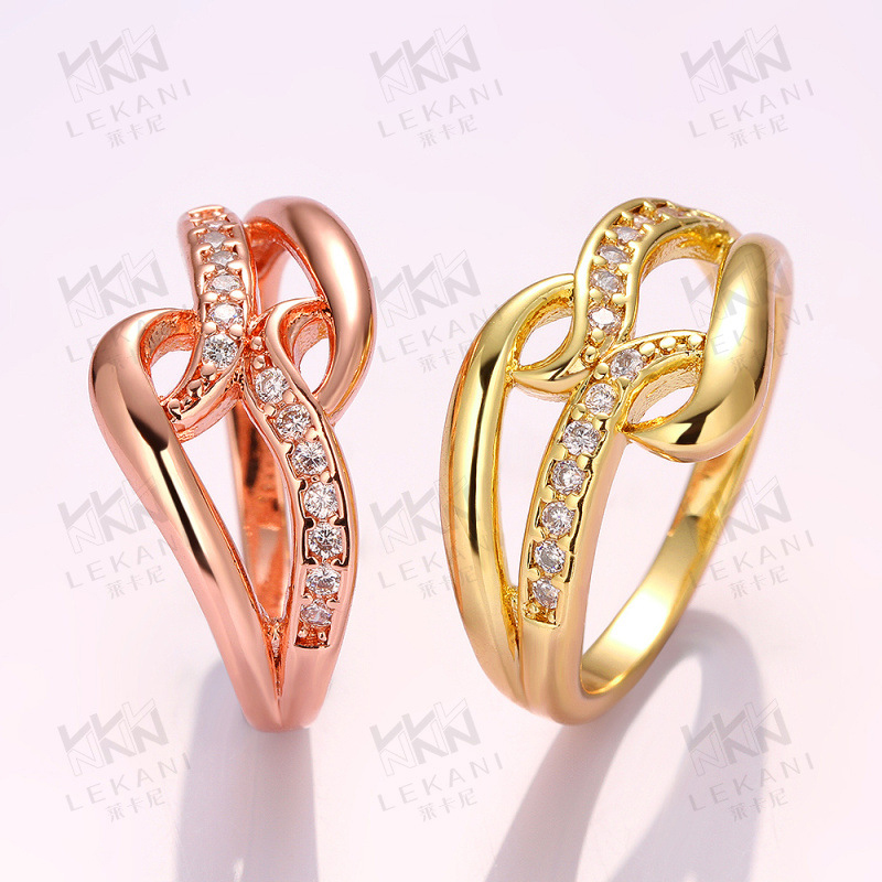 Gold Plated Rings For Women Prong Setting Brilliant Cut CZ Diamond Wedding Ring KZCR071