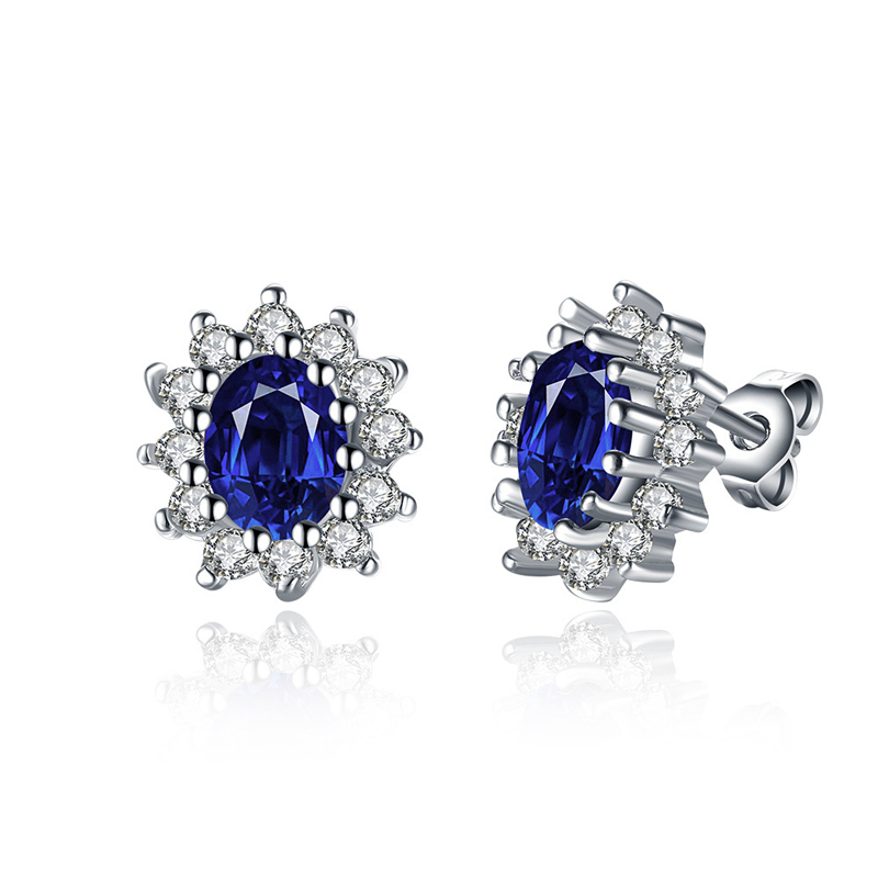 Gold Plated Shining Blue Crystale Stud Earring For Women