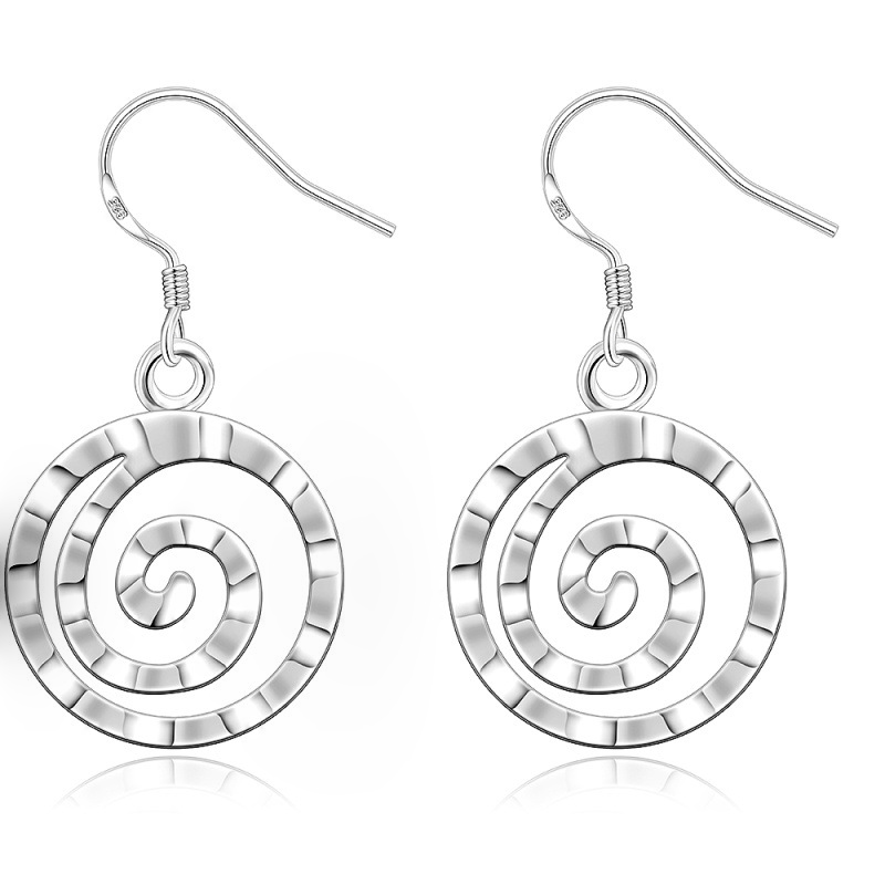 Round Sliver plated Charming Drop Dangle Earrings for Women E353