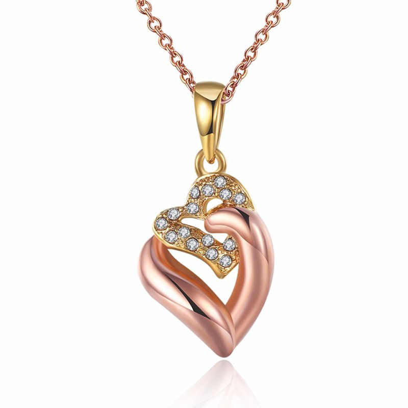 Gold plated Love Double Heart Charms Pendant Necklace Fashion Rhinestone Jewelry