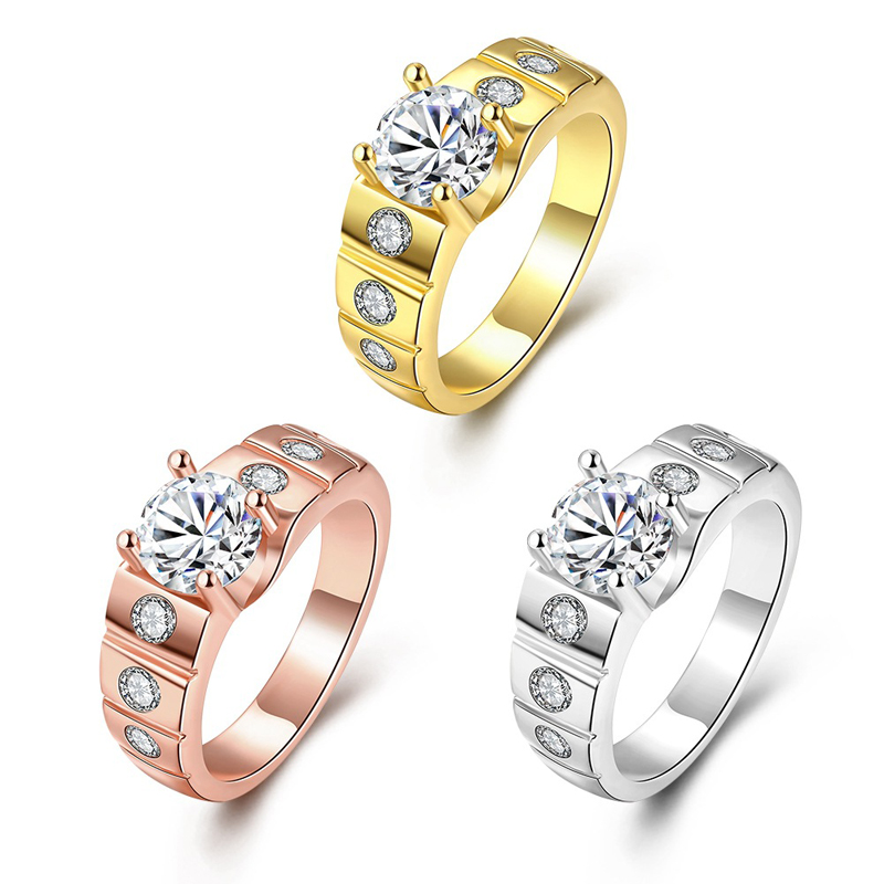 Gold Plated Man Retro Rings With AAA Cubic Zirconia Rings For Men KZCR123