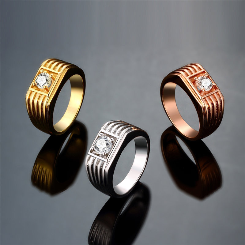 AAA+ Cubic Zircon Crystal Party Rings For Men Gold Plated Rings KZCR121
