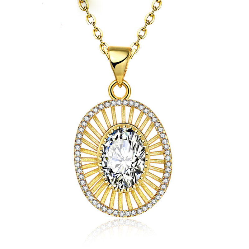 Gold Hollw Out White Crystal Pendant Necklaces for Woman KZCN136