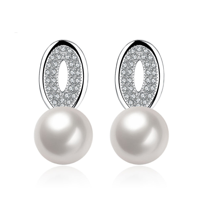 100% Natural Pearl Stud Earring With White Gold Plated Earrings LKNPLE069